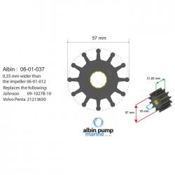 Albin Pump Impeller Kit PN 06-01-037