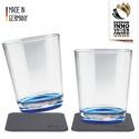 Silwy Drikkeglas med bordskånere - Blå 2 stk