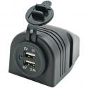 1852 Påbygnings USB-Udtag Dobbelt 5V 1A & 2,1A