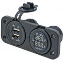 1852 Panel Dobbelt USB M/Volt- & Amperemeter